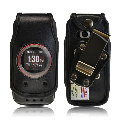 Casio GzOne Ravine 2 Black Leather Case with Rotating Metal Clip