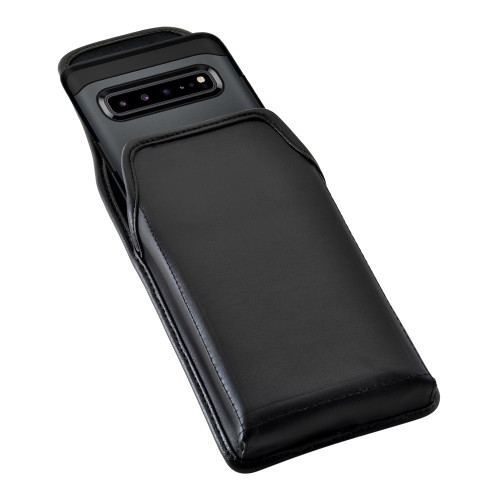 Samsung Galaxy S10 5G (2019) Vertical Belt Holster Case Black Leather Pouch with Executive Belt Clip