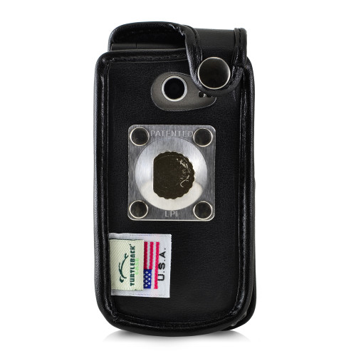 LG Exalt LTE VN220 4G Black Leather Fitted Case with Heavy Duty Rotating Metal Belt Clip