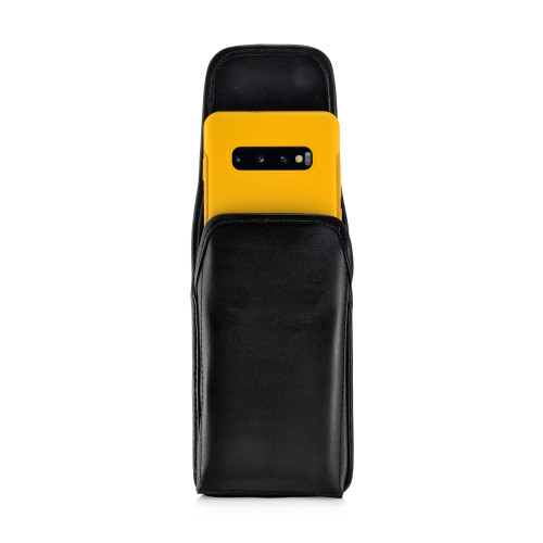 Galaxy S10+ Plus Fits with OTTERBOX SYMMETRY Vertical Holster Black Leather Pouch Rotating Belt Clip