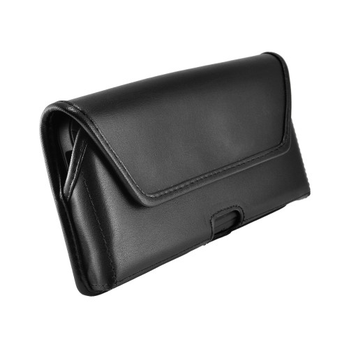 Galaxy S10+ Plus Fits with OTTERBOX DEFENDER Black Leather Belt Case Pouch Executive Belt Clip Horizontal