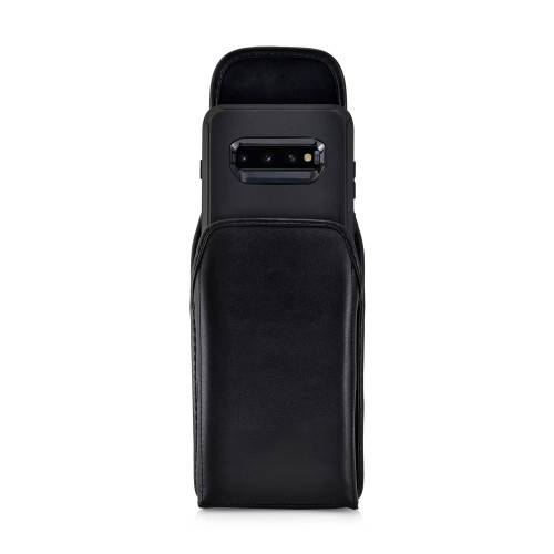 Galaxy S10+ Plus Fits with OTTERBOX DEFENDER Vertical Belt Case Black Leather Pouch Executive Belt Clip