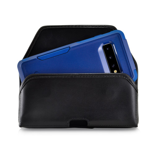 Galaxy S10 Fits with OTTERBOX COMMUTER Black Leather Holster Pouch Rotating Belt Clip Horizontal