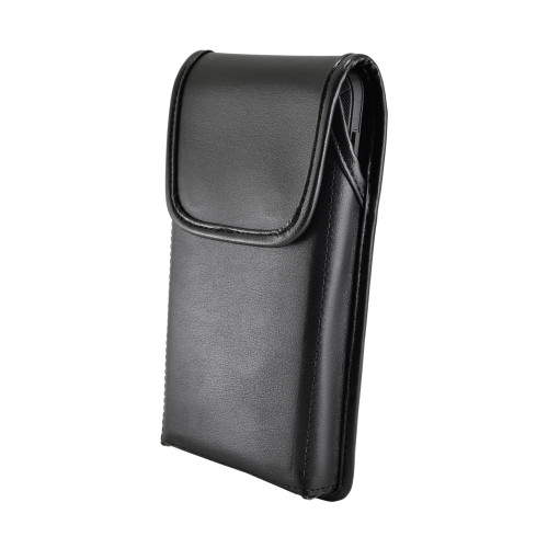 Galaxy S10 Fits with OTTERBOX DEFENDER Vertical Holster Black Leather Pouch Rotating Belt Clip