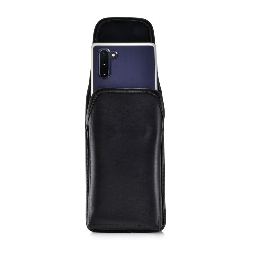 Samsung Galaxy Note 10 (2019) Vertical Belt Holster Case Black Leather Pouch with Executive Belt Clip