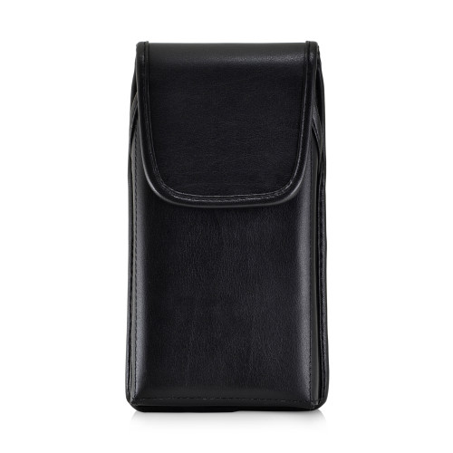 Samsung Galaxy Note 10+ Plus Vertical Belt Holster Case Black Leather Pouch with Executive Belt Clip