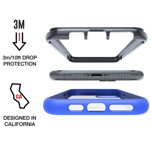 Tough Defense Drop Tested Case for Apple iPhone X + XS 5.8 Inch, Military Grade, Anti-Scratch Ultra Clear Back, Blue Sides