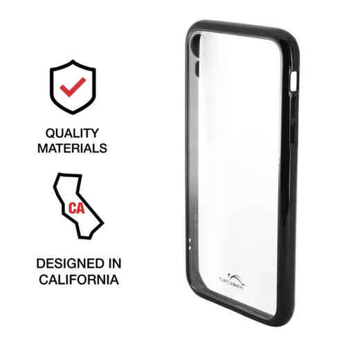 Hybrid Case for Apple iPhone XR 6.1 Inch with Anti-Scratch Ultra Clear Back and Black Sides, shockproof