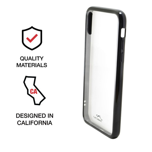 Hybrid Case for Apple iPhone X + XS 5.8 Inch with Anti-Scratch Ultra Clear Back and Black Sides, shockproof