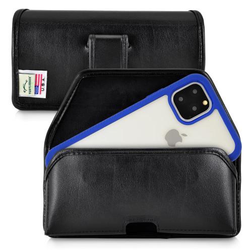 Tough Defense Combo for iPhone 11 Pro Max, Blu/Clr Drop Test Case + Horizontal Pouch, Leather Clip