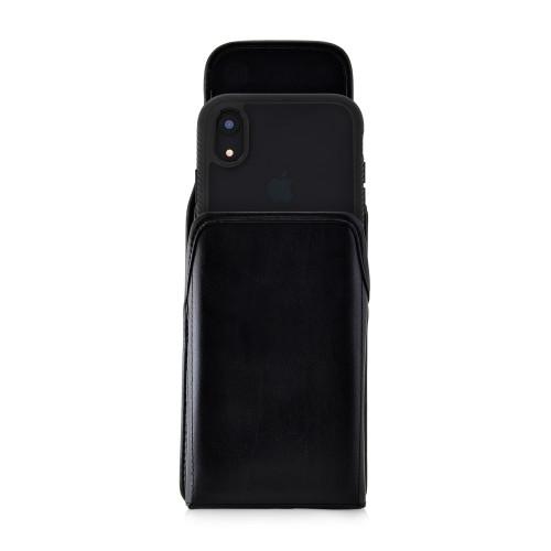 Tough Defense Combo for iPhone XR, Black/Clear Drop Test Case + Vertical Pouch, Metal Clip