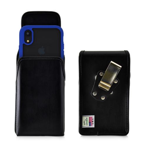 Tough Defense Combo for iPhone XR, Blue/Clear Drop Test Case + Vertical Pouch, Metal Clip