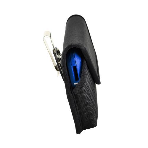 Tough Defense Combo for iPhone XS Max, Blu/Clr Drop Test Case + Hoz Nylon Pouch, Metal Clip