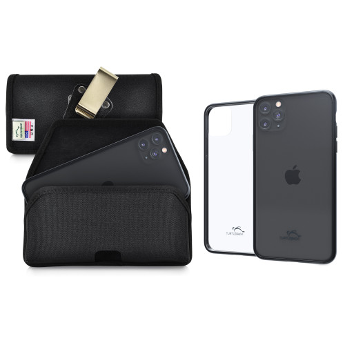 Hybrid Case Combo for iPhone 11 Pro Max, Clear/Black Case + Horizontal Nylon Pouch, Metal Clip