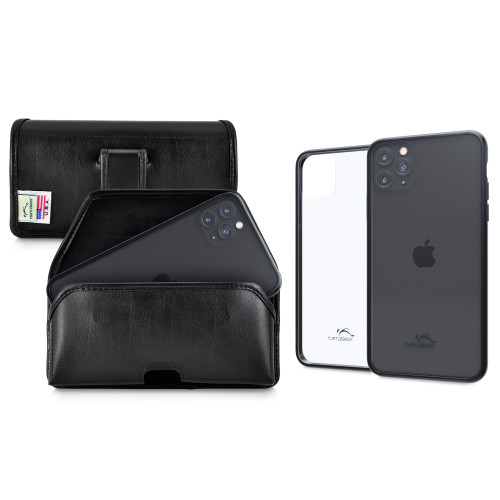 Hybrid Case Combo for iPhone 11 Pro, Clear/Black Case + Horizontal Leather Pouch and Clip