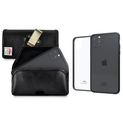 Hybrid Case Combo for iPhone 11 Pro, Clear/Black Case + Horizontal Leather Pouch, Metal Clip