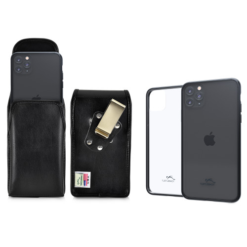 Hybrid Case Combo for iPhone 11 Pro, Clear/Black Case + Vertical Leather Pouch, Metal Clip