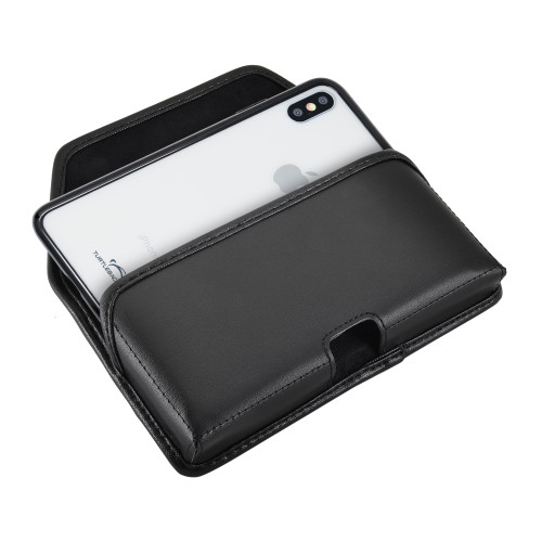 Hybrid Case Combo for iPhone XS Max, Clear/Black Case + Horizontal Leather Pouch and Clip