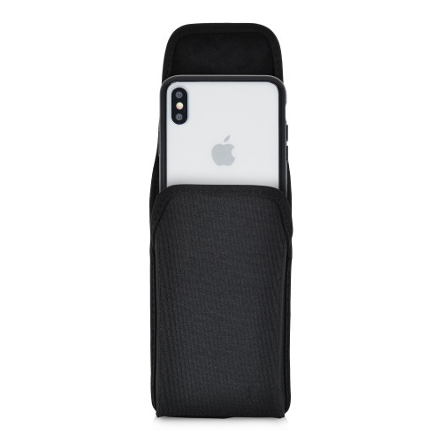 Hybrid Case Combo for iPhone XS Max, Clear/Black Case + Vertical Nylon Pouch, Metal Clip