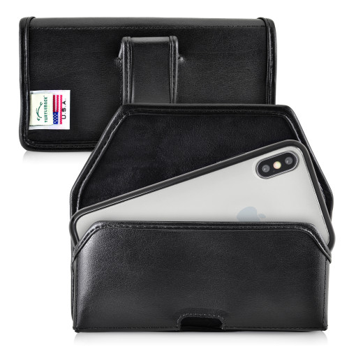 Hybrid Case Combo for iPhone X & XS, Clear/Black Case + Horizontal Leather Pouch and Clip