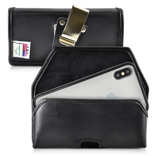 Hybrid Case Combo for iPhone X & XS, Clear/Black Case + Horizontal Leather Pouch, Metal Clip