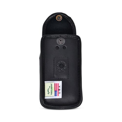 Alcatel GO FLIP 3 Black LEATHER Flip Phone Fitted Case Removable Belt Clip