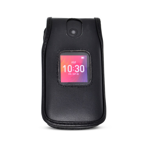 Alcatel GO FLIP 3 4052W Black LEATHER Flip Phone Fitted Case Metal Removable Clip