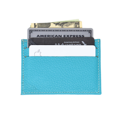 Leather Front Pocket Wallet with RFID Blocking in TEAL