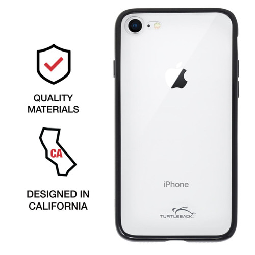 Hybrid Case for iPhone SE 2020 (2nd Gen), iPhone 7 / 8 with Anti-Scratch Ultra Clear Back and Black Sides, shockproof