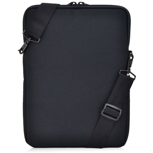 Essential Gear Vertical Padded Sleeve Slip Case with Removable Strap for Laptop 13 inch, Macbook, Black (13.3 inch, Blue Interior)