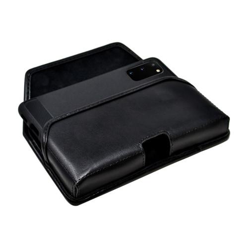 Galaxy S20 Belt Case Black Leather Pouch Executive Belt Clip, Horizontal