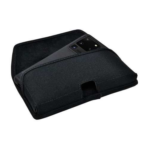 Galaxy S20 Ultra Belt Holster Black Nylon Pouch Rotating Belt Clip, Horizontal