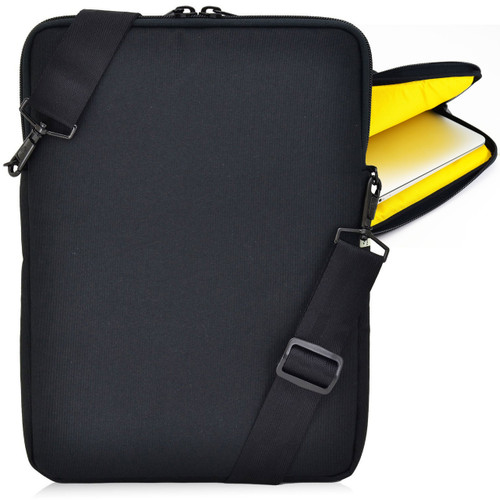 Essential Gear Vertical Padded Sleeve Slip Case with Removable Strap for Laptop 13 inch, Macbook, Black (13.3 inch, Yellow Interior)