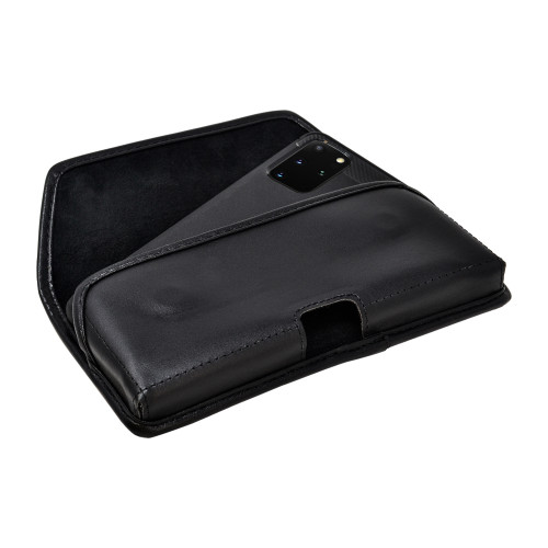 Galaxy S20+ Plus Belt Holster Black Leather Pouch Rotating Belt Clip, Horizontal