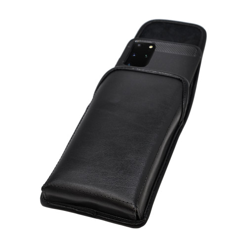 Galaxy S20+ Plus Vertical Holster Black Leather Pouch Rotating Belt Clip