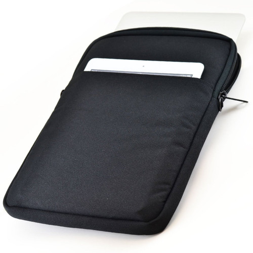Essential Gear Vertical Padded Sleeve Slip Case with Removable Strap for Laptop 11 inch, Macbook, Black (11.6 inch, Blue Interior)