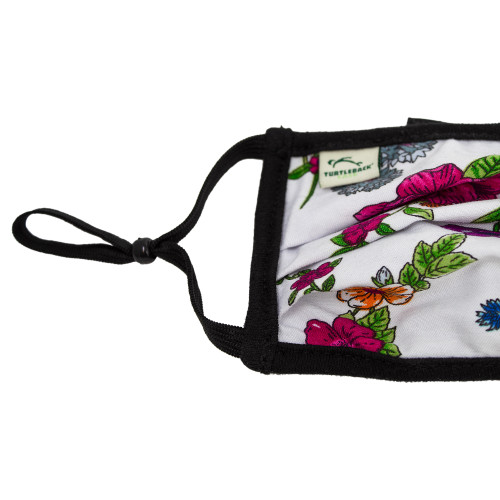 Face Mask in Vibrant Floral Color Print Washable Reusable, Cotton Pocket, 2 Ply, Nose Seal, Adjustable Ear Loops (set of 2)