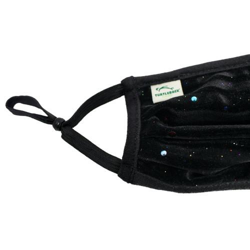 Face Mask in Speckled Black Velvet Print Washable Reusable, Cotton Pocket, 2 Ply, Nose Seal, Adjustable Ear Loops (set of 2)