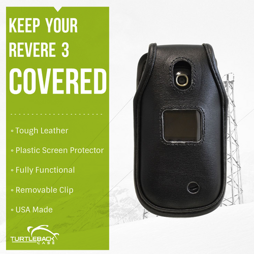 LG Revere 3 Heavy Duty Black Leather Phone Case with Rotating Metal Belt Clip