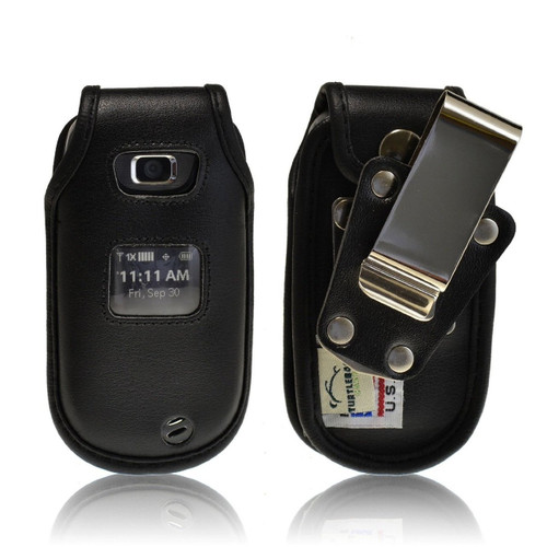 LG Revere Heavy Duty Black Leather Phone Case with Rotating Metal Belt Clip