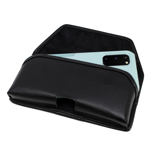 Galaxy S20 w/Otterbox Commuter Belt Holster Black Leather Pouch Rotating Belt Clip, Horizontal