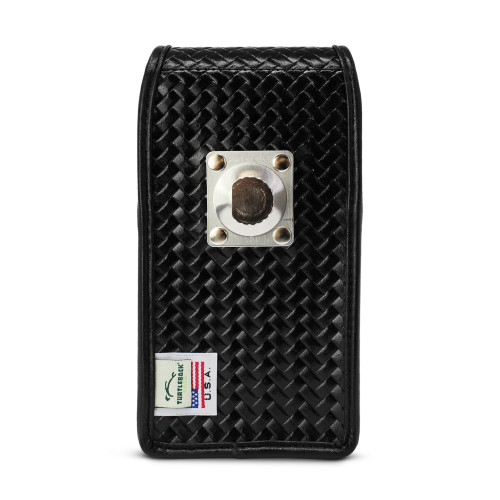 Galaxy S20 Vertical Belt Case for Otterbox COMMUTER, Black Basket Weave Leather Holster with ROTATING BELT LOOP