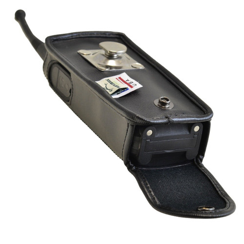 Motorola DTR 650 Black Leather Fitted Case with Rotating Metal Clip - Bottom Closure