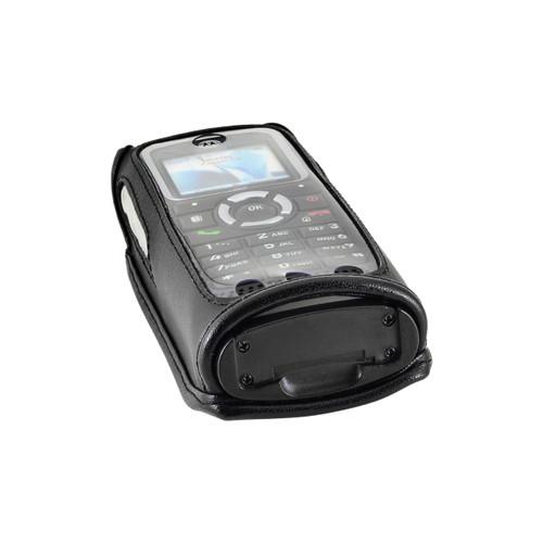 Motorola i365 Black Leather Phone Case with Removable Metal Belt Clip