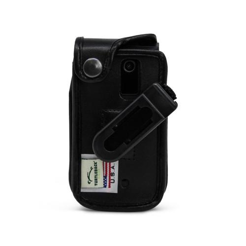 Orbic Journey V Black Leather Case with Ratcheting, Removable Plastic Belt Clip