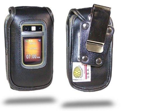Motorola i686 Brute Black Leather Heavy Duty Case with Rotating Belt Clip