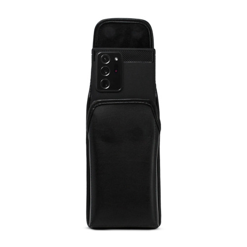 Samsung Galaxy Note 20 Ultra Vertical Belt Holster Case Black Leather Pouch with Executive Belt Clip