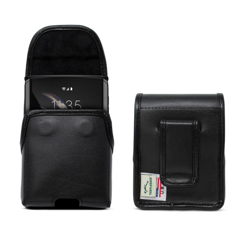 Motorola Razr Vertical Belt Holster Case Black Leather Pouch with Executive Belt Clip