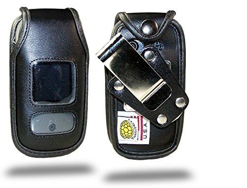 Pantech Breeze 3 Black Leather Case with Rotating Metal Clip