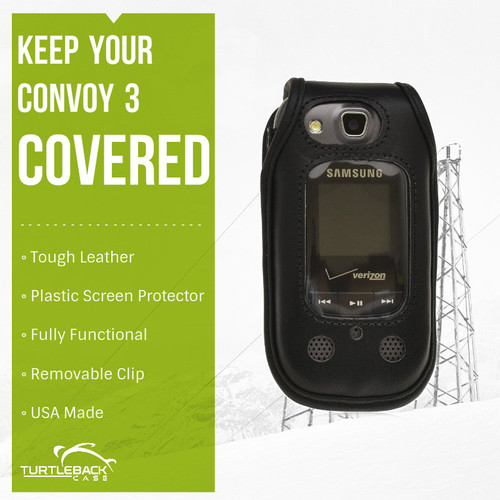 Samsung Convoy 3 U680  Leather Phone Case with Removable Ratcheting Belt Clip